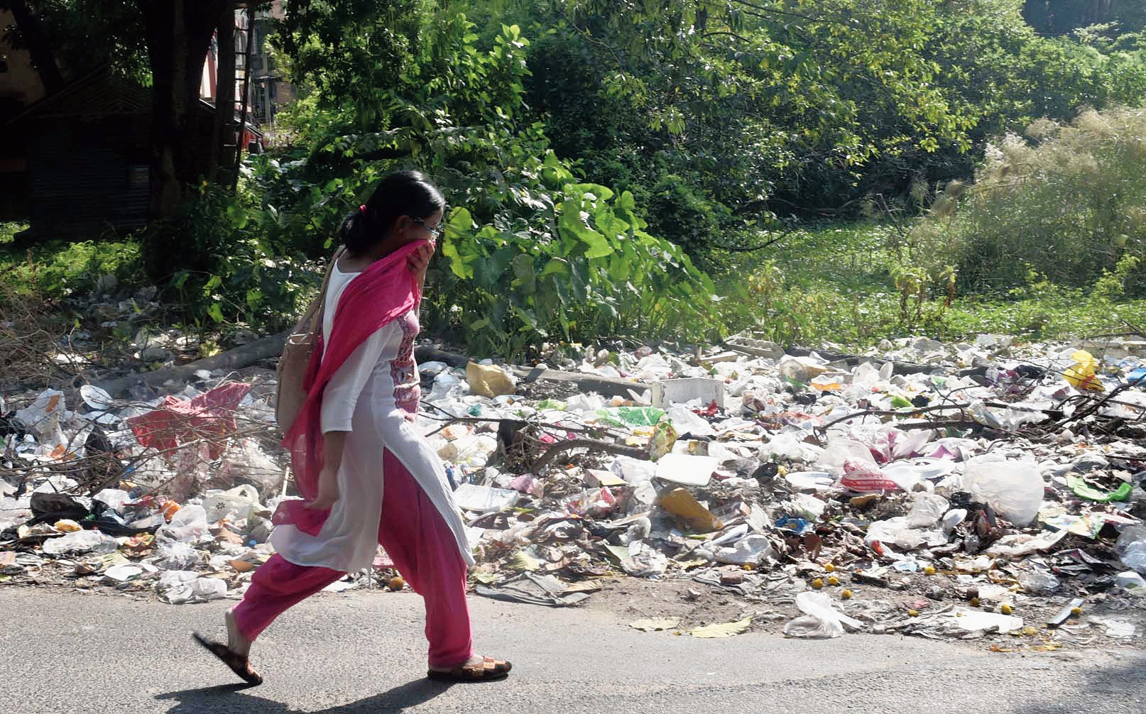 A woman covers her nose as she passes by a pile of garbage on the roadside in Lake Gardens on Sunday. Places like these are ideal for mosquitoes to breed in.