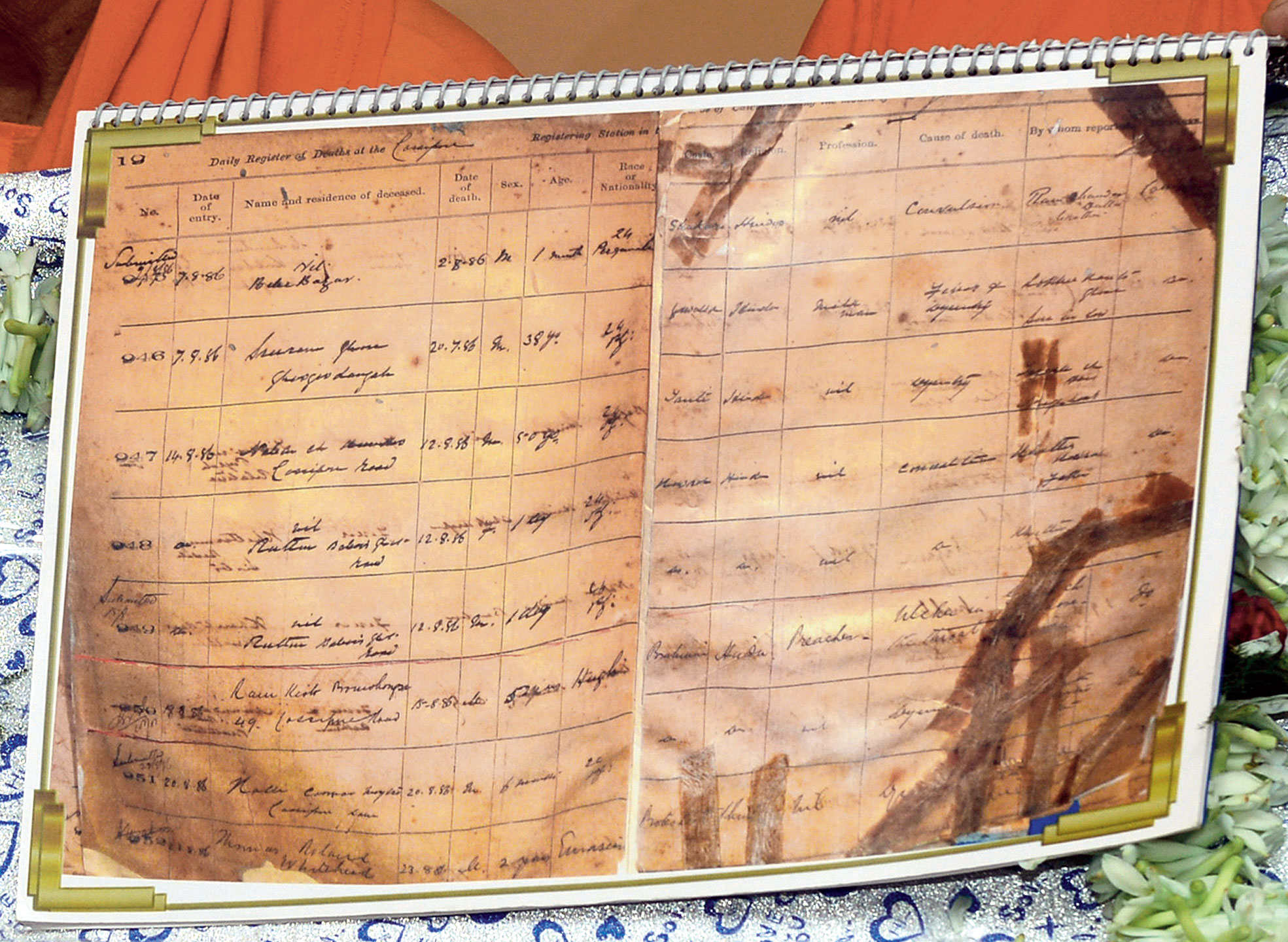 """A page of the death register of Cossipore police station that shows an entry (marked with arrow) mentioning the death of """"Ram Kisto Promohongsa"""", who is popularly known as Ramakrishna Paramhansa"""