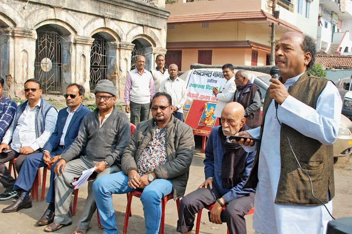 Rajkumar Agarwal addresses the meet in Jharia on Thursday.