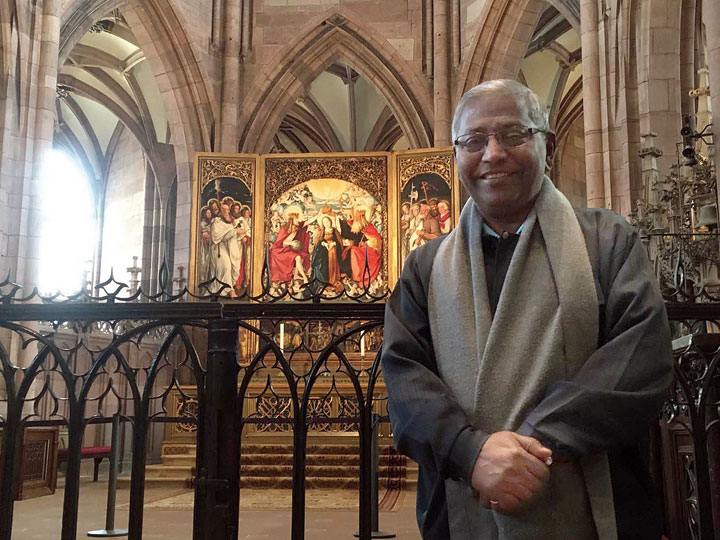 Father Felix Raj at The Cathedral of our Lady in Freiburg, Germany