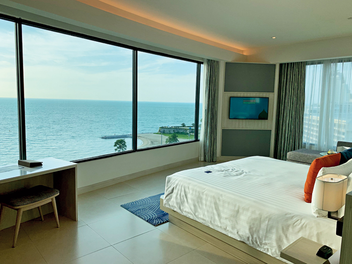 The surreal view from the room that awaited us when we entered and parted the curtains at Amari Pattaya!