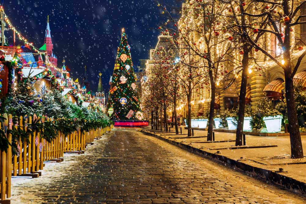 Christmas lights in the Red Square in Moscow, Russia