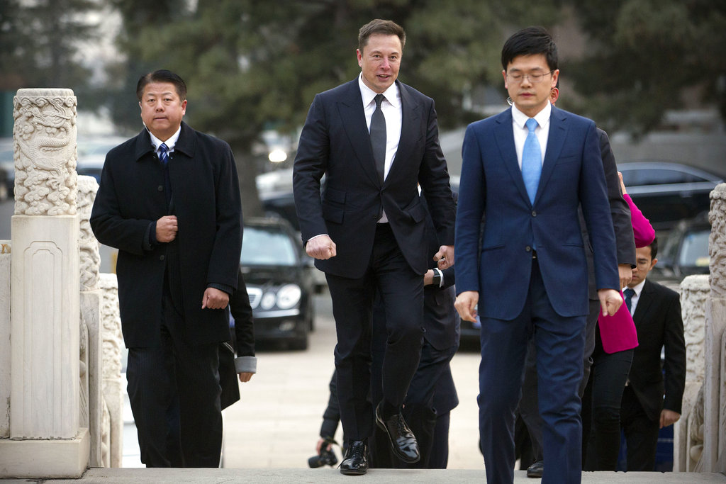 Tesla CEO Elon Musk arrives for a meeting with Chinese Premier Li Keqiang at the Zhongnanhai leadership compound in Beijing on Wednesday.