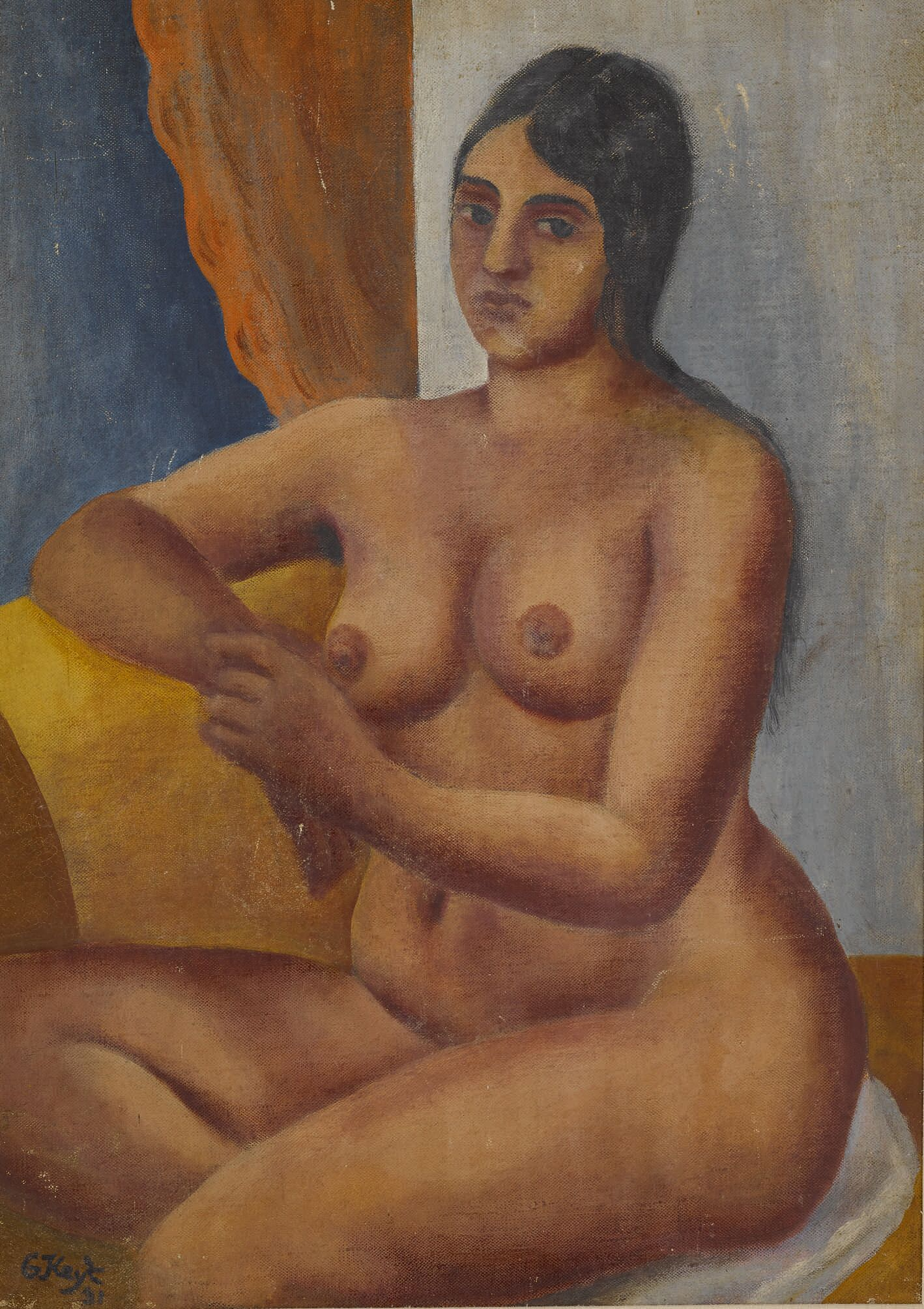 Portrait of A. M, oil on canvas by George Keyt. Estimate: $15,000-$20,000