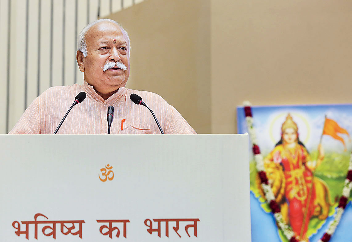 RSS chief Mohan Bhagwat in New Delhi on Tuesday