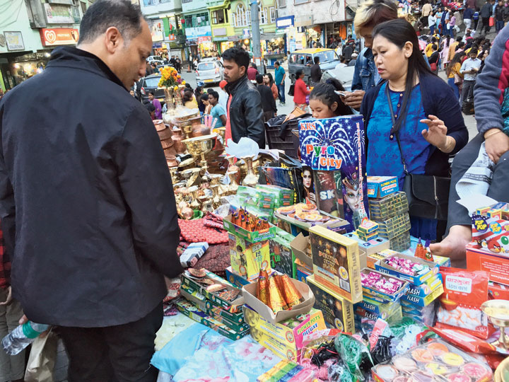 Crackers on sale at a market in Gangtok on Saturday