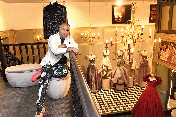 Gaurav Gupta at his flagship store at Galleria 1910, Wellside Camac, 7 Ho Chi Minh Sarani. Spread over 1,500sq ft (open 11am-7.30pm, Monday through Saturday), the design den is replete with the wondrous Gaurav Gupta aesthetic, almost fairy tale-ish.