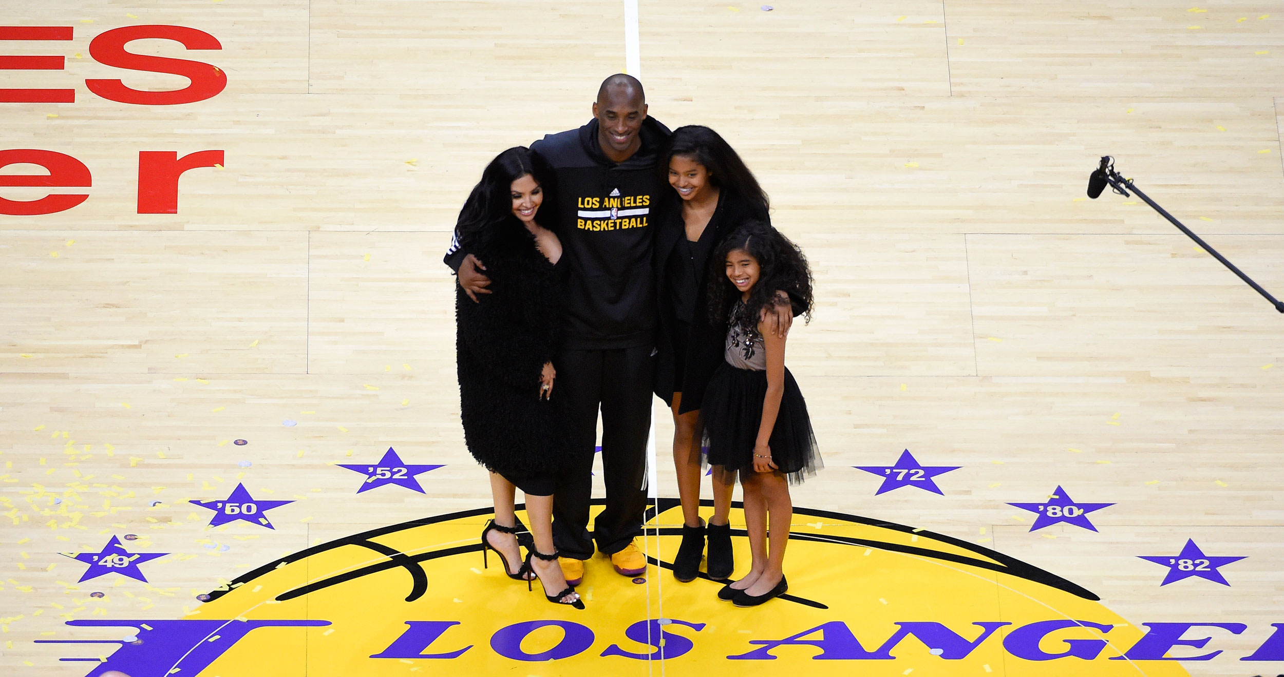 In this April 13, 2016, file photo, Kobe Bryant poses with his wife Vanessa and daughters Natalia and Gianna in Los Angeles. Bryant, the 18-time NBA All-Star who won five championships and became one of the greatest basketball players of his generation during a 20-year career with the LA Lakers, died in a helicopter crash on Sunday.