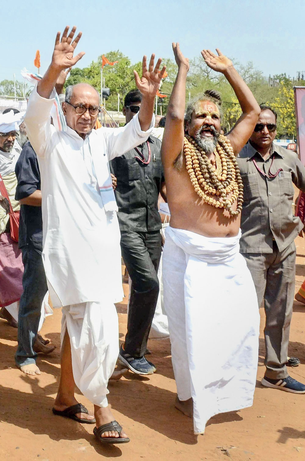 Congress Bhopal candidate Digvijaya Singh with Computer Baba, at a rally in Bhopal on Tuesday