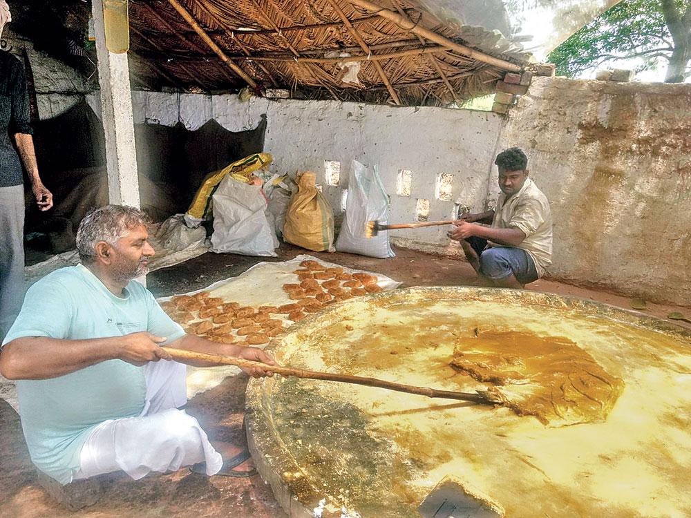 Rajpal Dhimmar, a minor OBC, makes jaggery in Biharipur village.