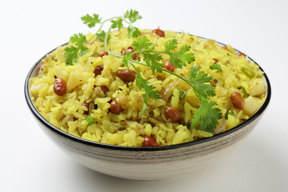 Poha, a popular Indian breakfast dish made with beaten or flattened rice.