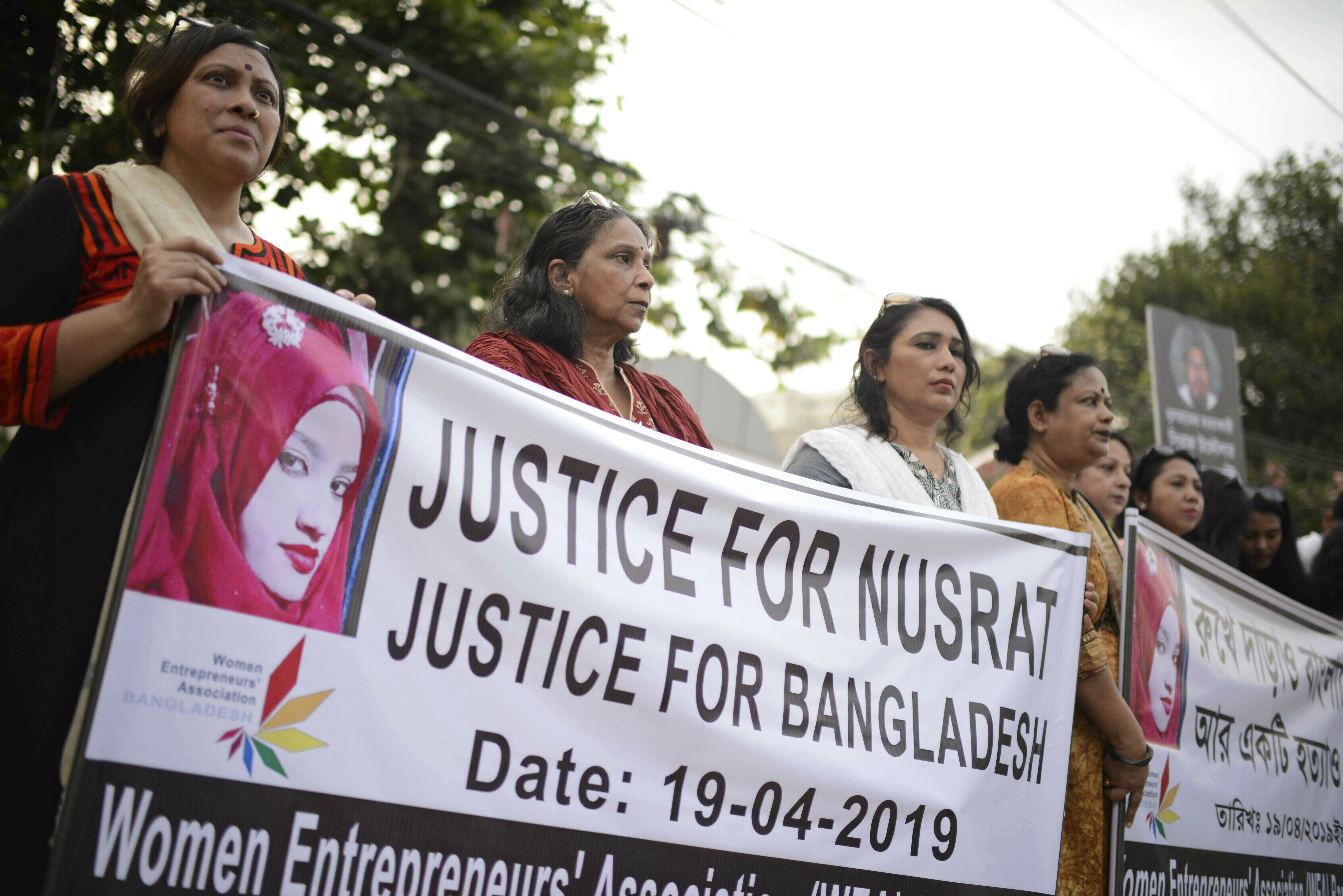 File photo, protesters gather to demand justice for Nusrat Jahan Rafi who was killed after she was set on fire for refusing to drop sexual harassment charges against her Islamic school's principal, in Dhaka, Bangladesh