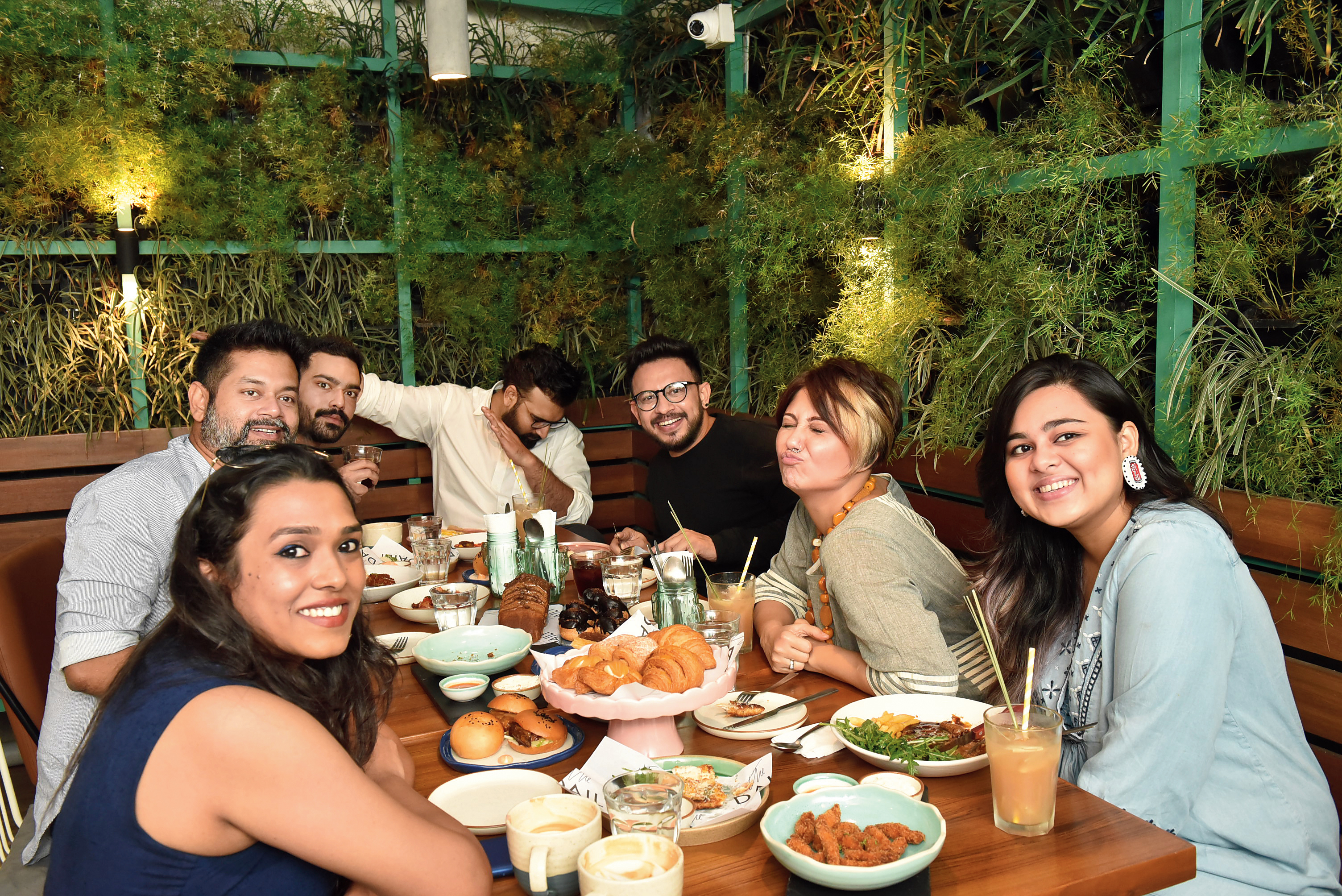 Rimi Nayak, Sayantan Sarkar, Ayushman Mitra, Rohan Arora, Anindya Chatterjee, Swastika Mukherjee and Anwesha Mukherjee at The Daily in happier, pre-Covid times.