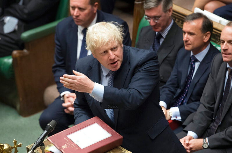 Britain's prime minister Boris Johnson gestures during his first Prime Minister's Questions, in the House of Commons in London on Wednesday, September 4, 2019. Recent media coverage has suggested that Johnson was attempting a constitutional coup by trying to bypass Parliament