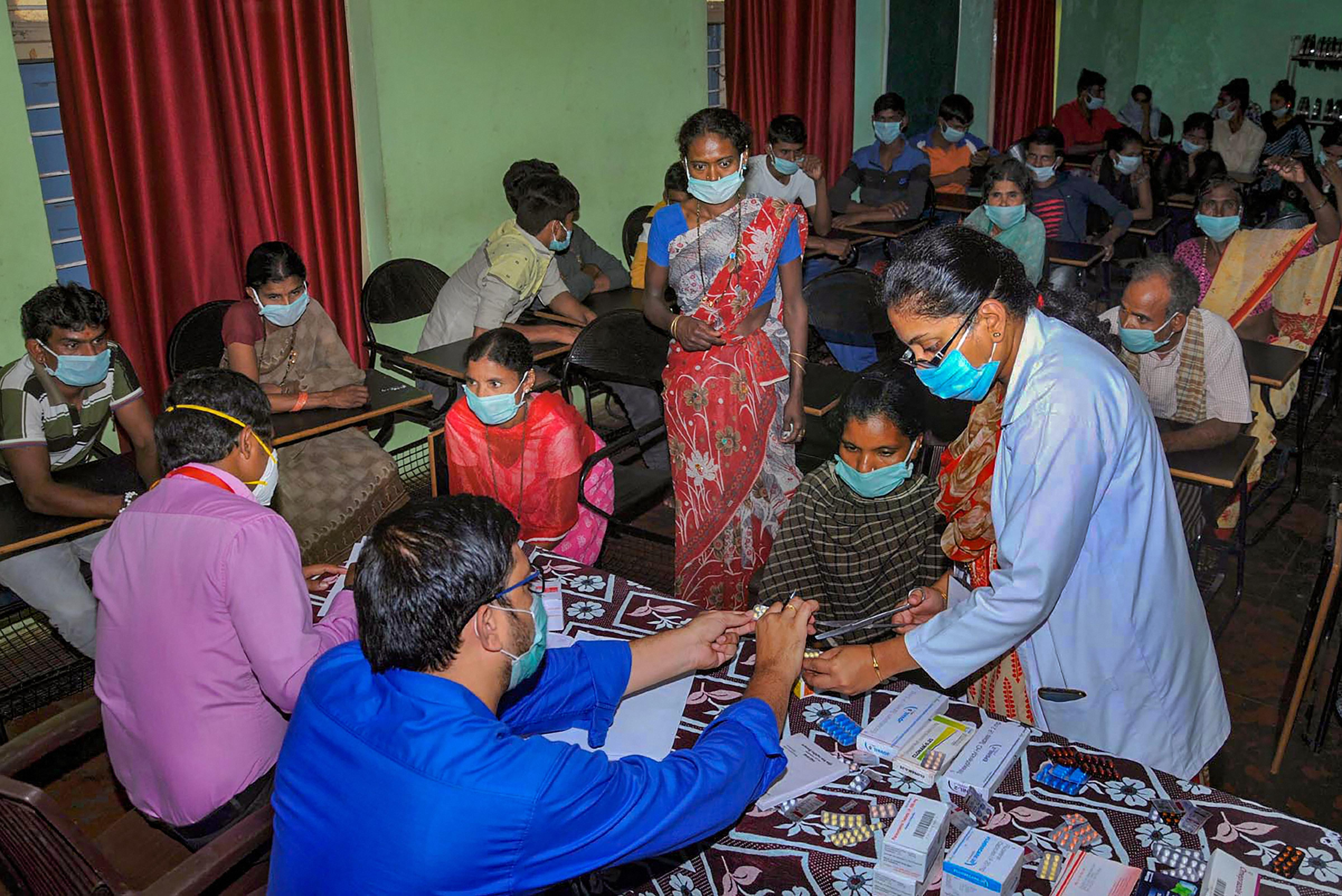 Doctors conduct counselling regarding mental health of labourers and migrants workers sheltered at a camp during ongoing COVID-19, lockdown in Chikmagalur, Monday, April 20, 2020.