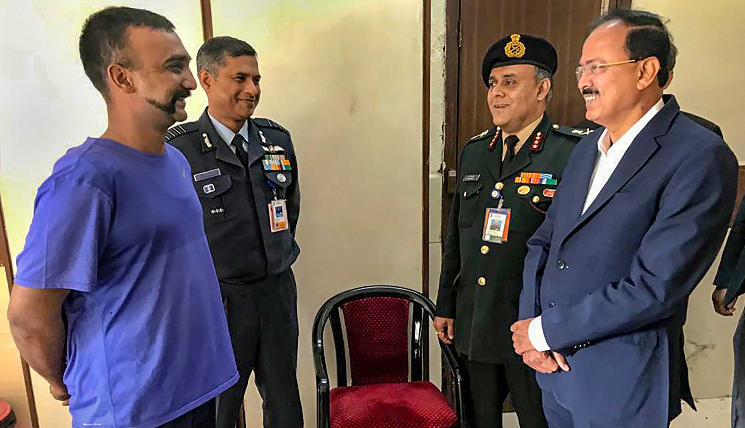 Minister of state for defence Subhash Bhamre meets IAF Wing Commander Abhinandan Varthaman at Research and Referral Hospital in New Delhi Cantonment, on March 3, 2019.
