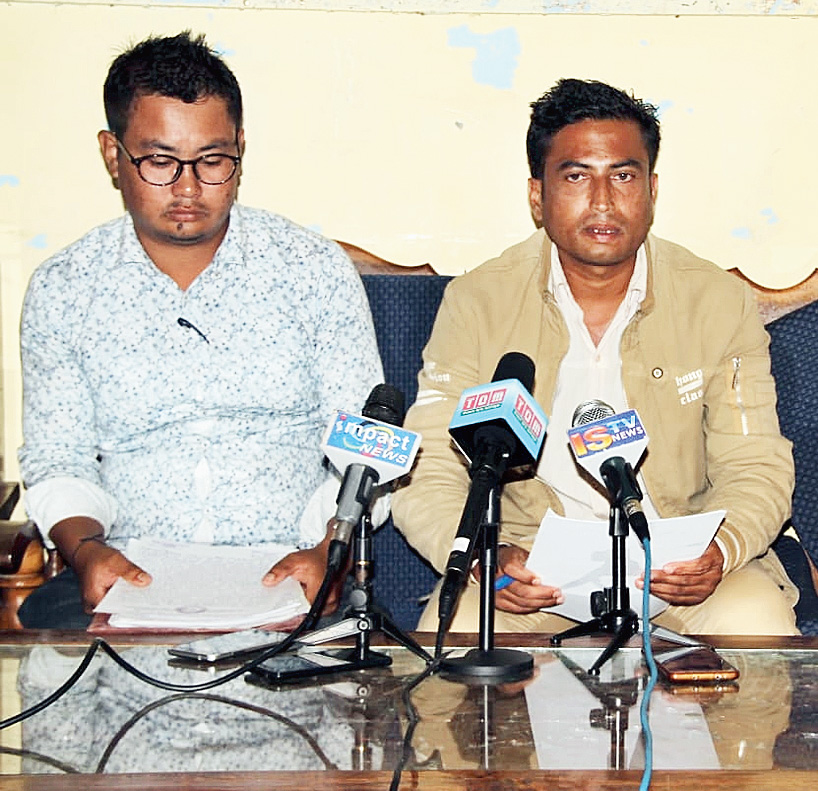 Committee members at the news conference in Imphal on Tuesday.