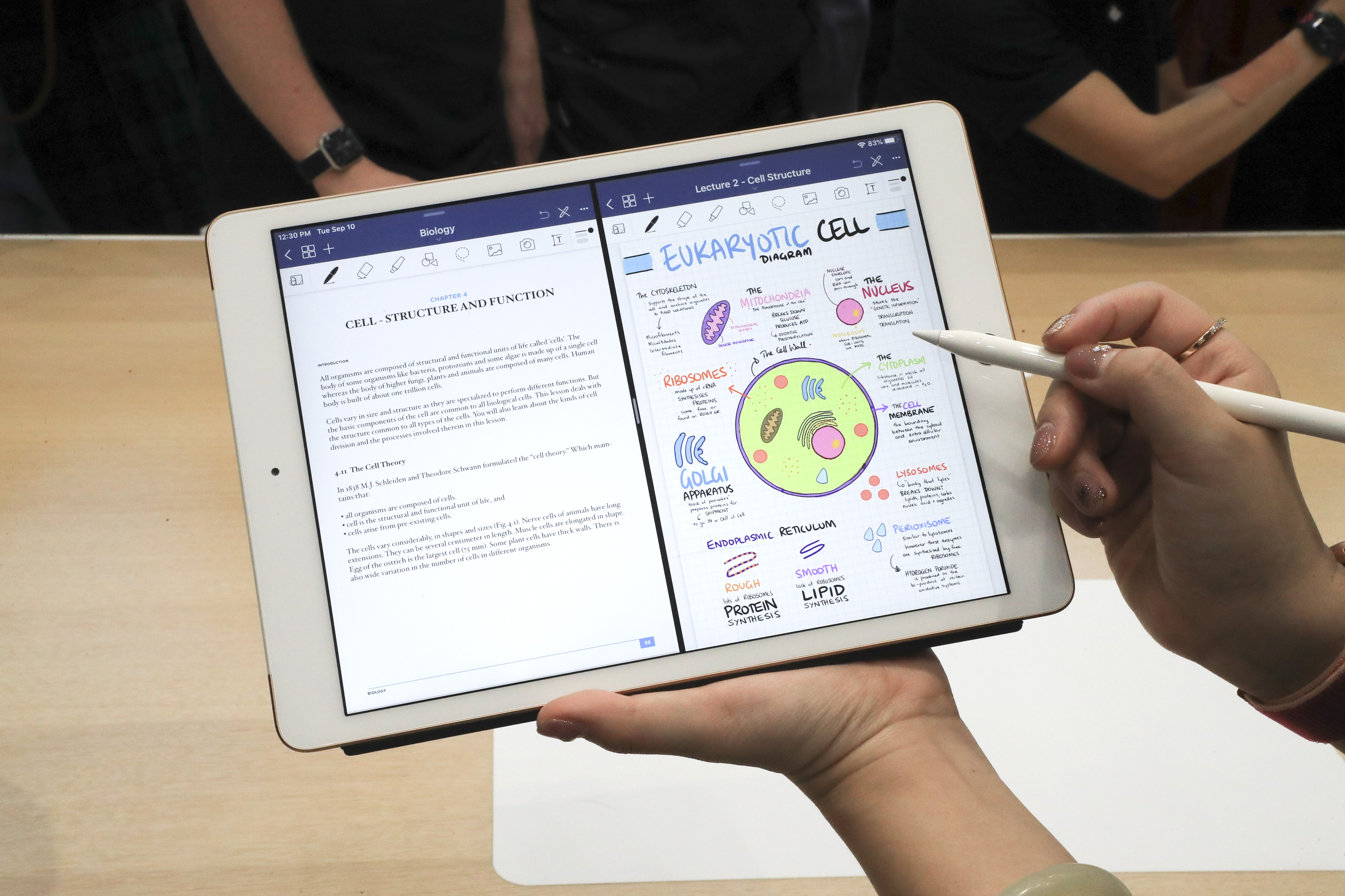 The new Apple iPad during the hands-on portion of Apple's annual product launch event in Cupertino.