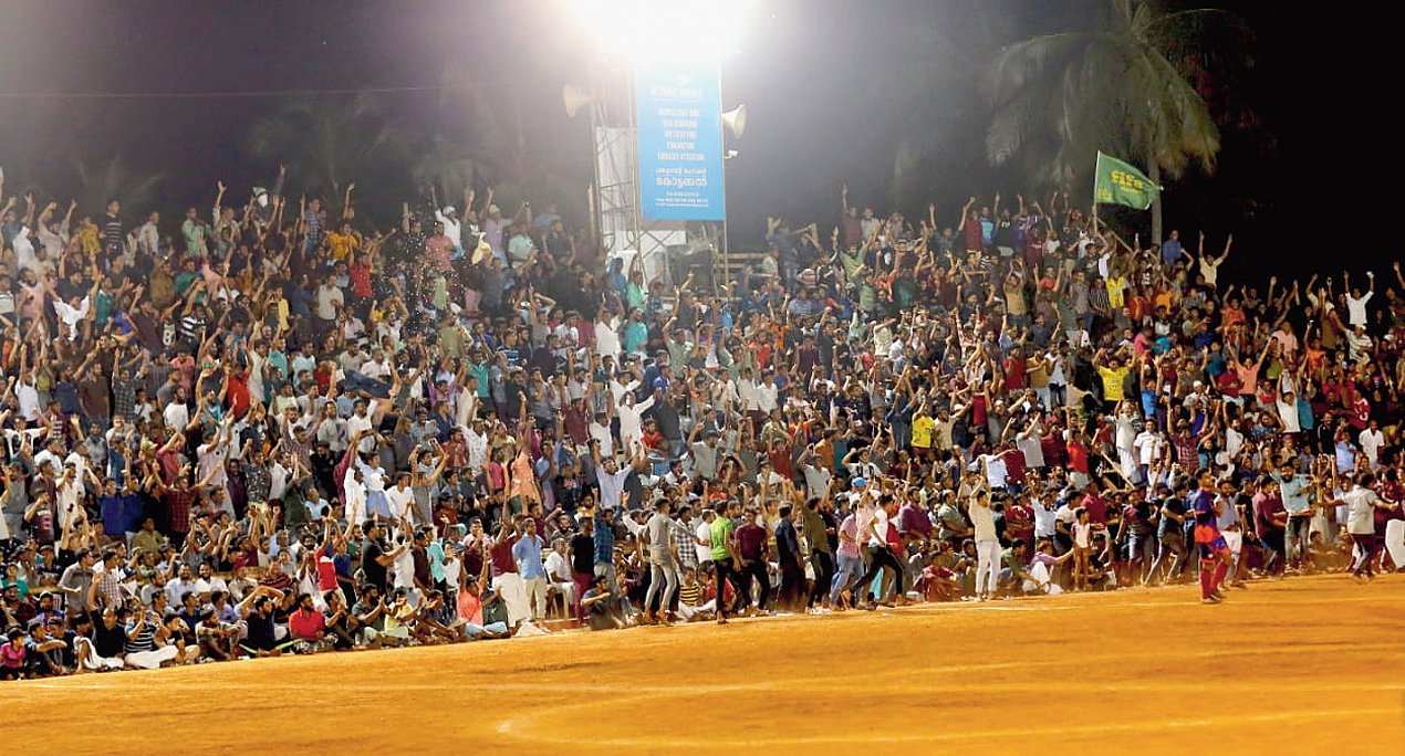 Spectators at the seven-a-side football game in Malappuram, Kerala, where they chanted azadi slogans on Monday