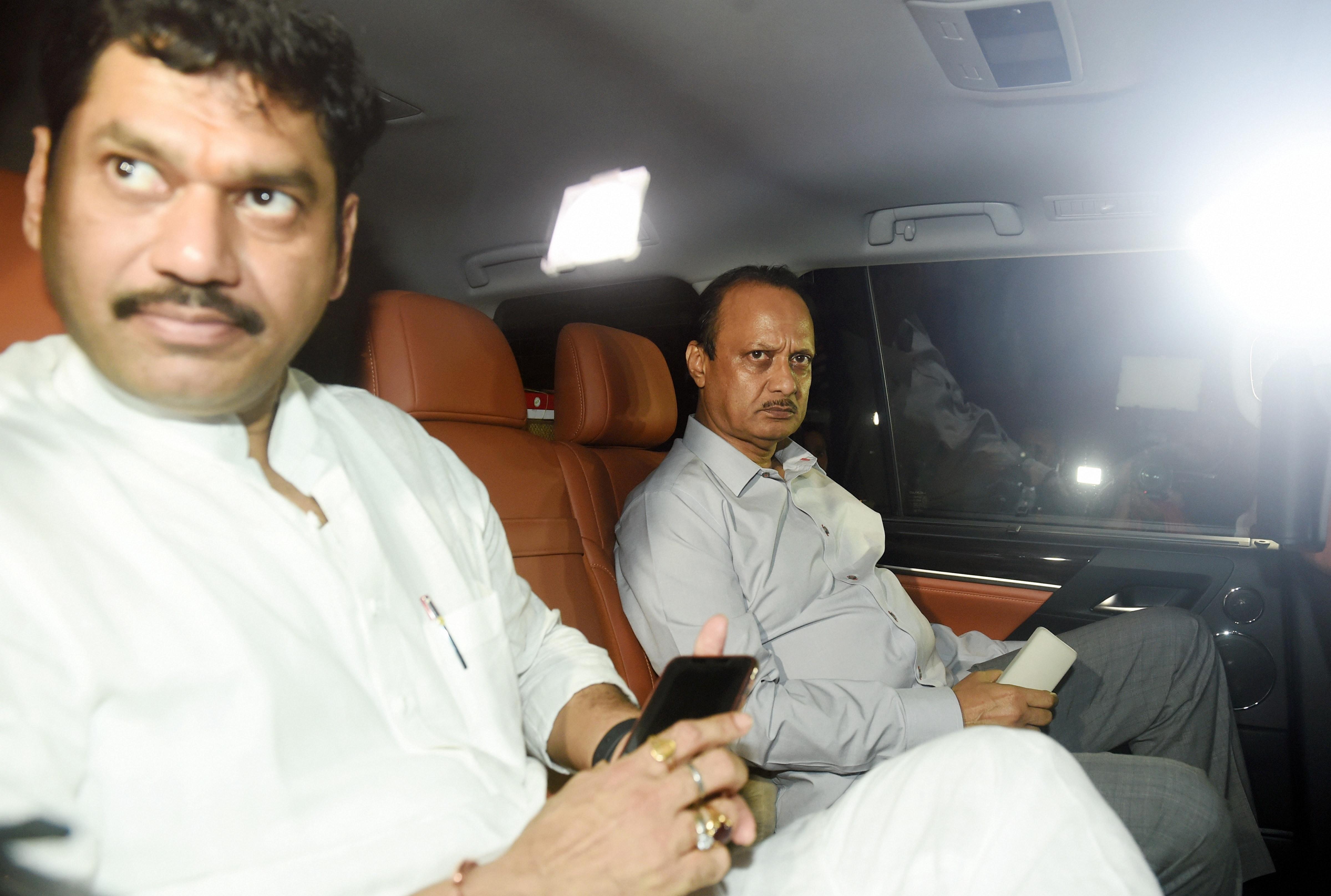 NCP leader Ajit Pawar arrives at Raj Bhavan to meet Maharashtra governor Bhagat Singh Koshyari in Mumbai on November 11.