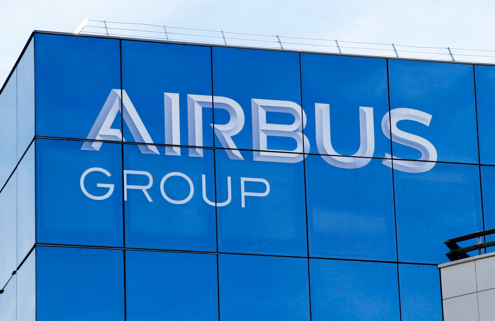 This May 6, 2016 file photo shows the logo of the Airbus Group in Suresnes, outside Paris.