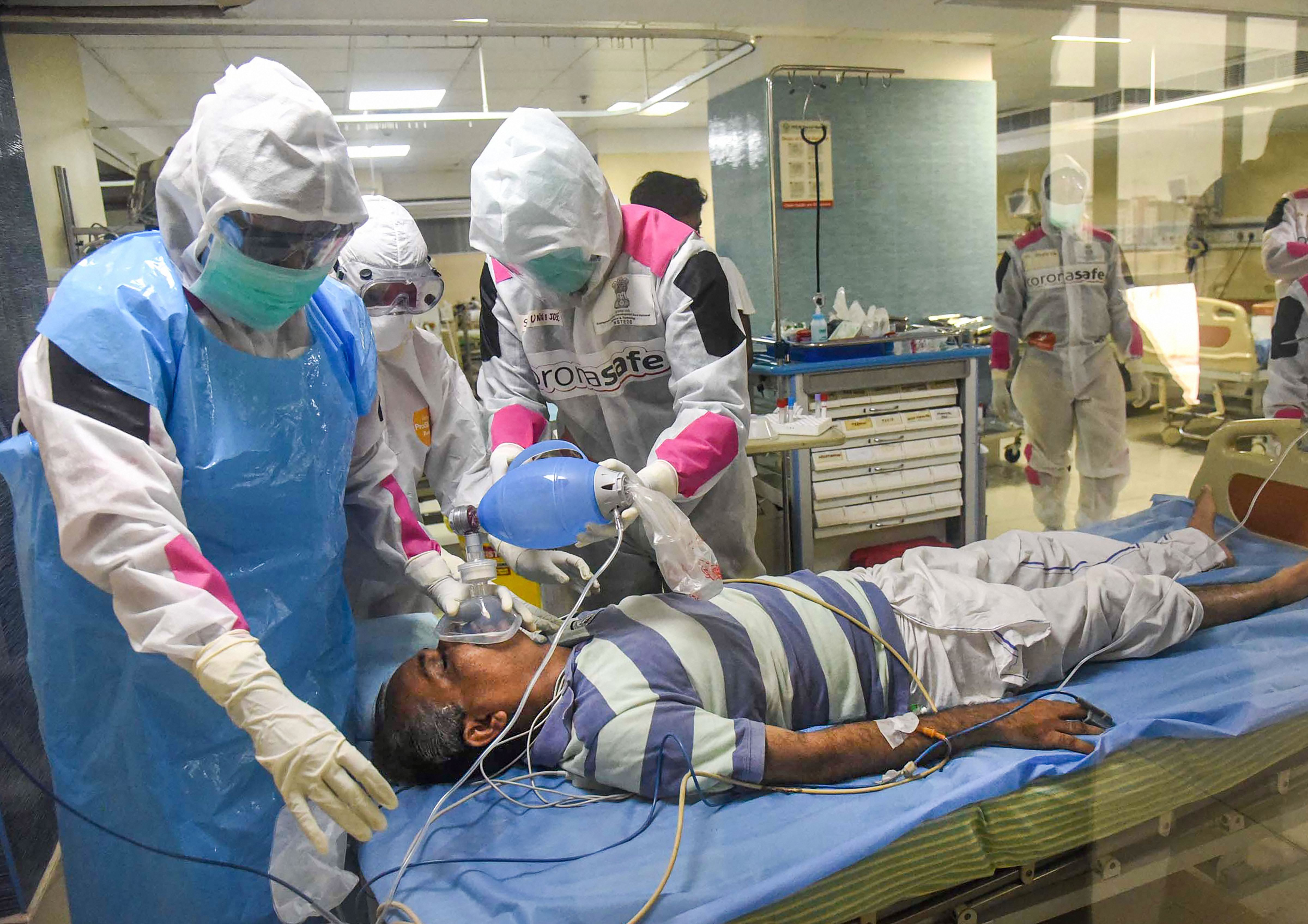 Medics undergo a mock-drill to treat Covid-19 patients, during the nationwide lockdown to curb the spread of coronavirus, in Ernakulam district, Wednesday, April 22, 2020.