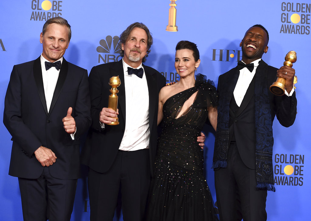 (From left) Viggo Mortensen, Peter Farrelly, Linda Cardellini and Mahershala Ali. Arguably the biggest boost went to Green Book, Farrelly's interracial road trip through the early '60s Deep South, which has struggled to catch on at the box office while coming under harsh criticism for relying on racial tropes. It won best film, comedy or musical, and best screenplay.