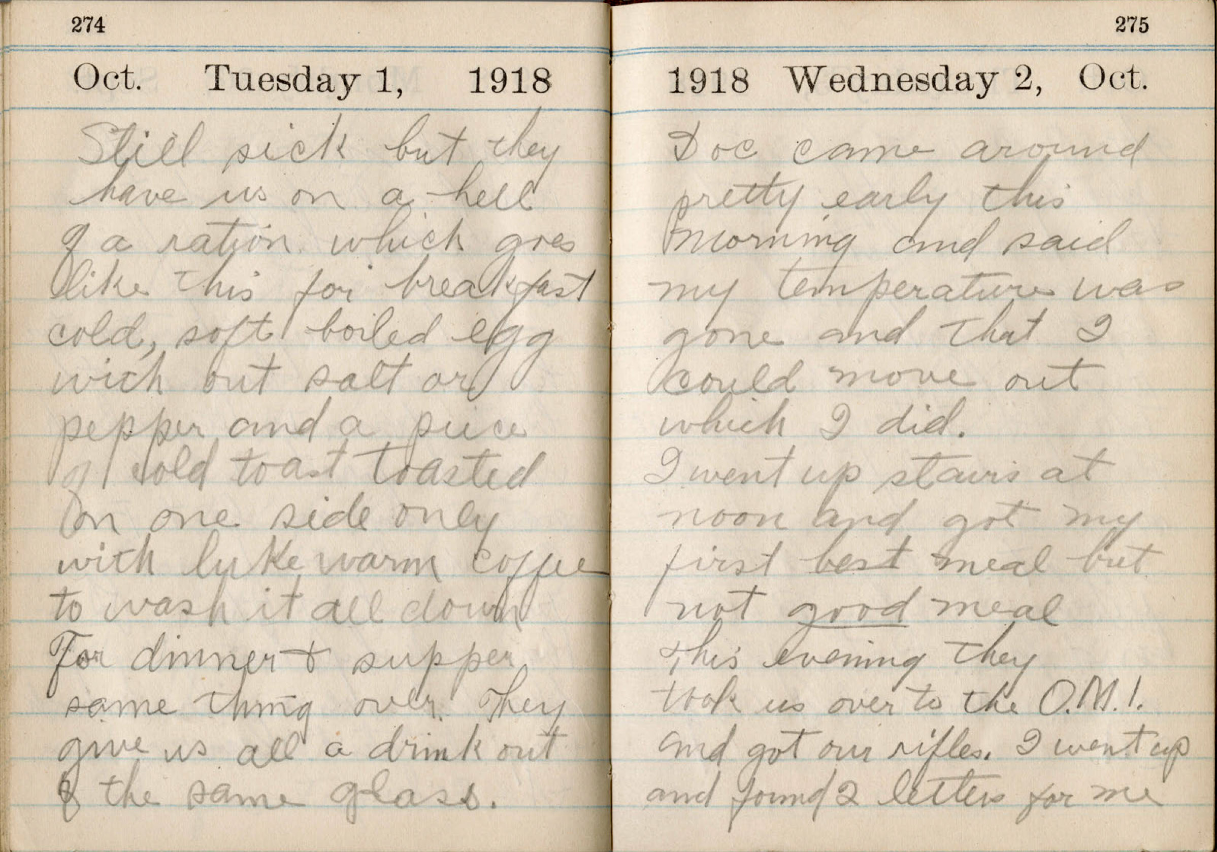 In an undated photo from Wright State University, pages from the diary of Donald McKinney, a farmer who kept a diary of his illness during the 1918 influenza epidemic.