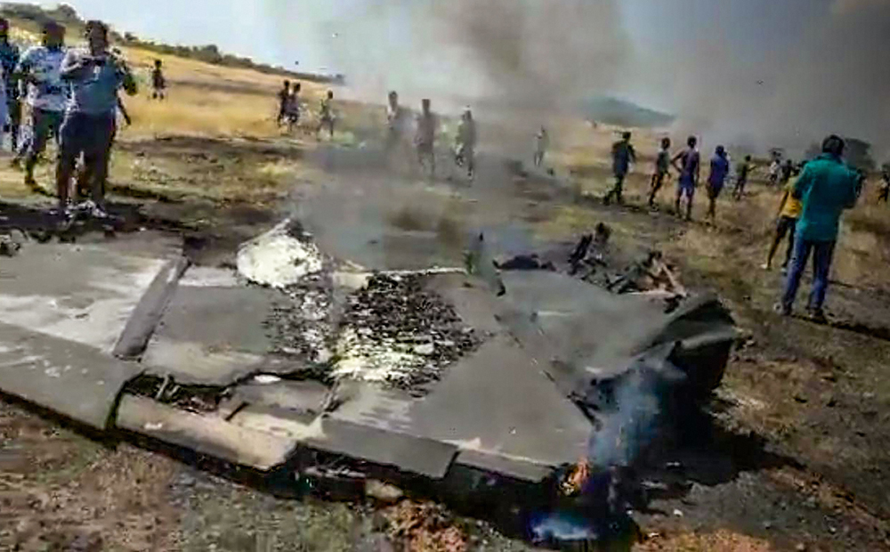 The wreckage of the MiG-29K fighter jet that crashed shortly after taking off on a training mission in Goa on Saturday