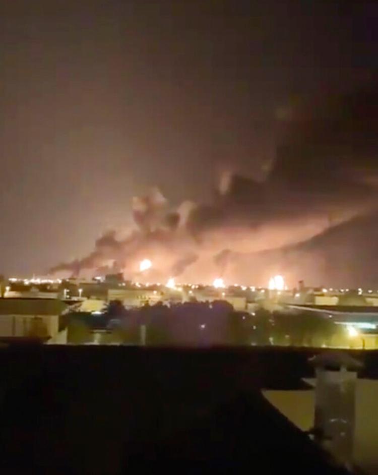 Smoke fills the sky at the Abqaiq oil processing facility on Saturday, September 14, 2019 in Saudi Arabia.