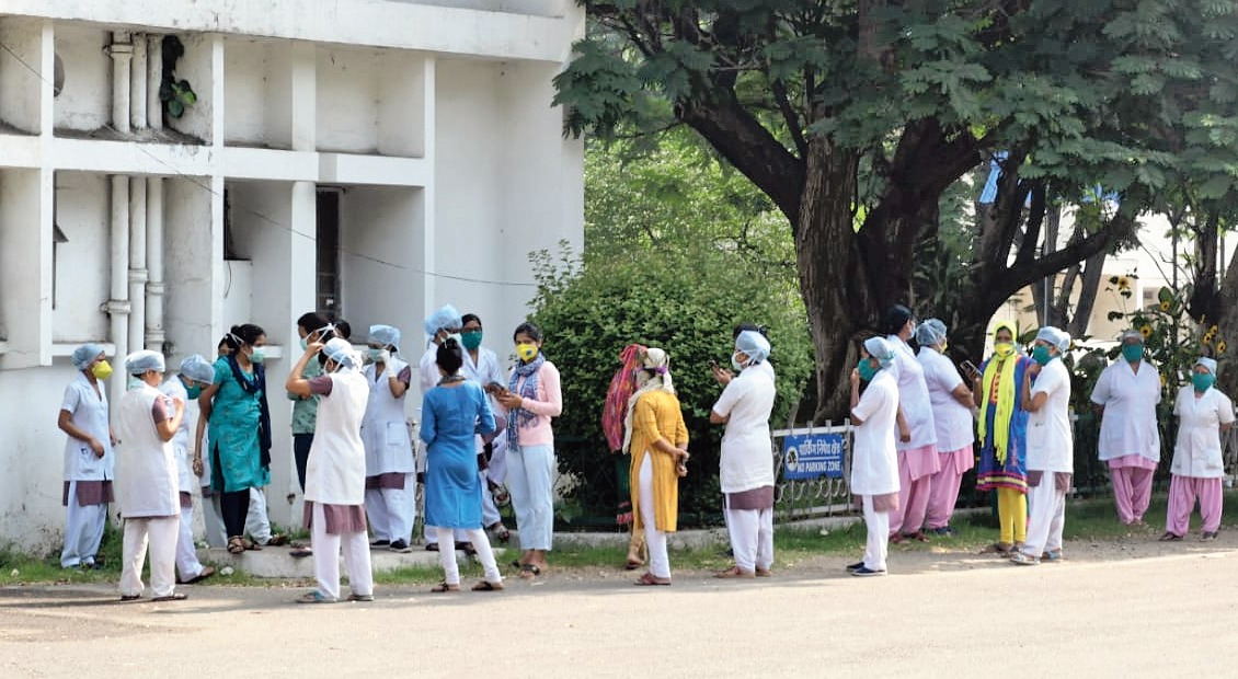 Nurses protest outside the Bokaro General Hospital on Monday.