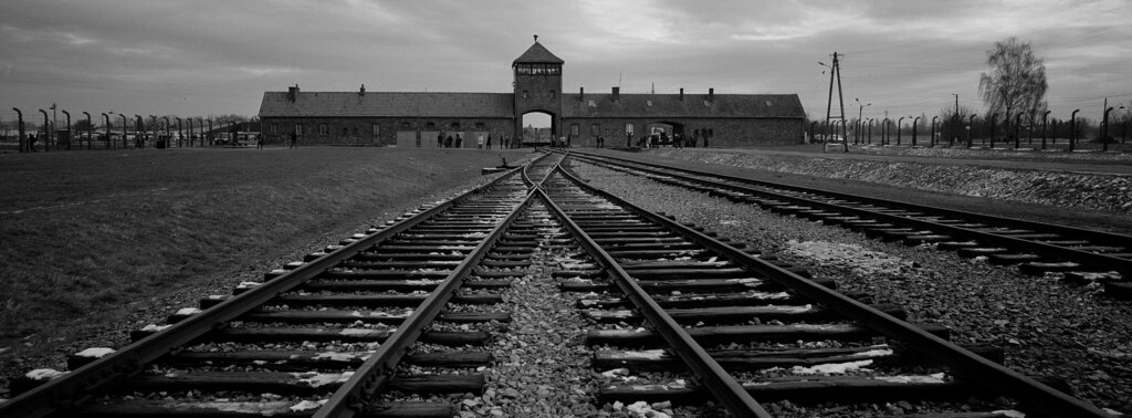 The railway tracks from where hundreds of thousands of people were directed to the gas chambers to be murdered, inside the former Nazi death camp of Auschwitz Birkenau or Auschwitz II, in Oswiecim, Poland, Saturday, December 7, 2019.