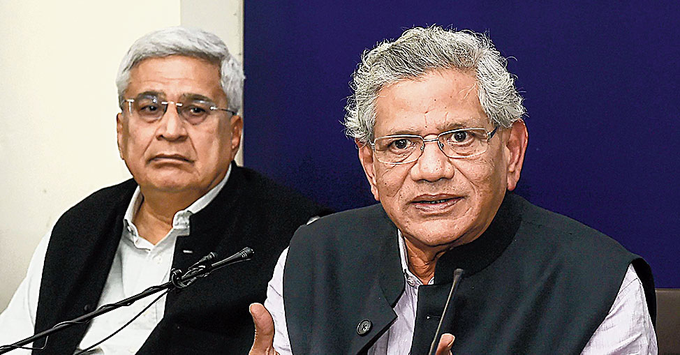 CPM leaders Sitaram Yechury and Prakash Karat, both former presidents of the JNU Students' Union, at the news conference in New Delhi on Monday.