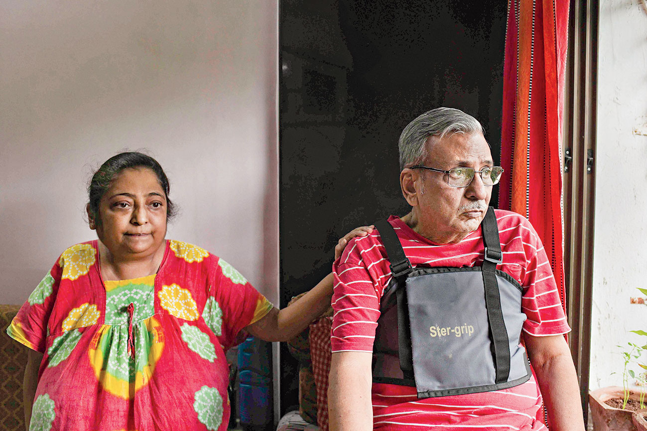 PMC depositor Shashi Kumar Neotia at his house in Mumbai. The 73-year-old has recently undergone heart surgery and donated one of his kidneys to his daughter.