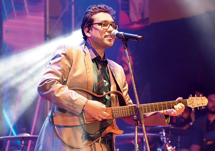Anupam Roy performs at the Dwitiyo Purush Live concert in City Centre Salt Lake on Tuesday. Dwitiyo Purush releases today