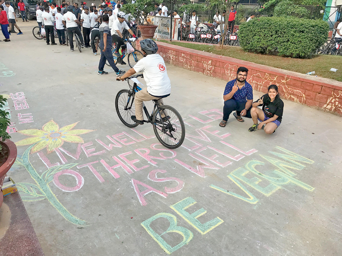 Chalktivism efforts in Hyderabad, where chalk art is used to convey messages of veganism, on walls and roads