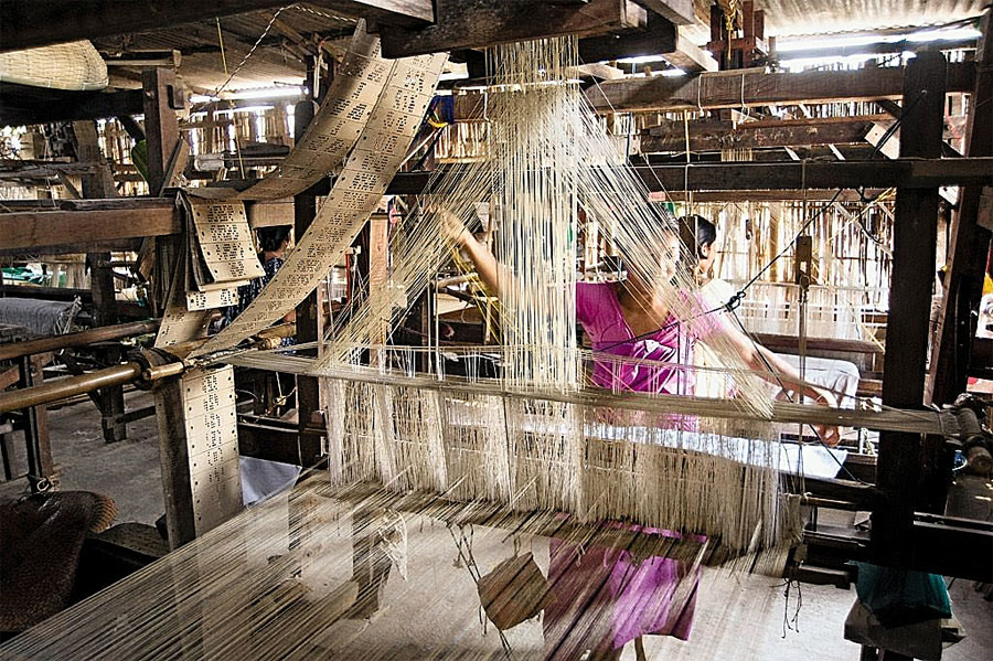 A weaver at Sualkuchi in Kamrup.