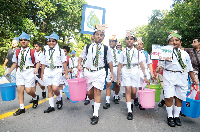 Students of St Joseph's College went on a Bucket Abhijaan, a walk to create awareness about the hazards of global warming, delayed monsoon and its implications. The participants urged people to save water by turning off taps and using buckets instead of shower for bath to stop wastage of water. The walk started from Victoria Memorial and ended at St Joseph's College.