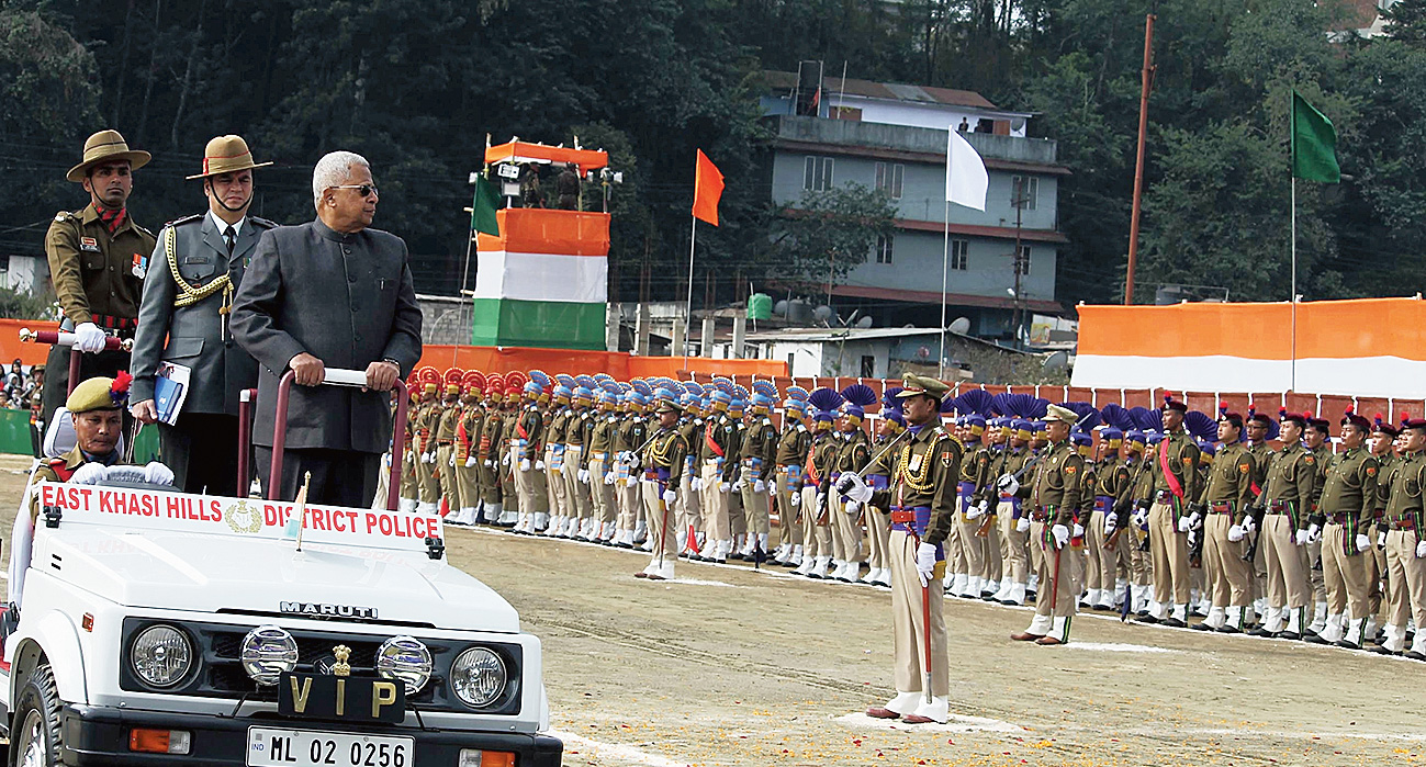 Meghalaya governor Tathagata Roy inspects the guard of honour at Polo Ground in Shillong.