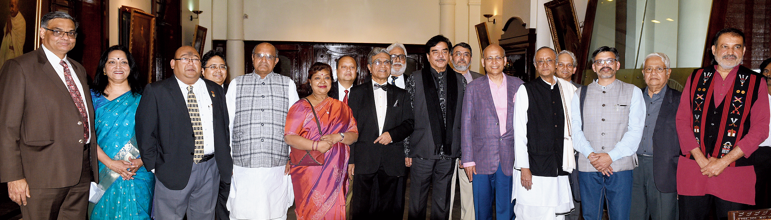 """Committee members of Calcutta Club with the participants in the Subhas Bose Institute of Hotel Management presents Calcutta Club The Telegraph National Debate 2019, powered by Pan Bahar, on Sunday.  """"A packed ground on a Sunday evening where there is no food, drink or any singing and dancing speaks volumes about the programme. The crowd stayed till the very end,"""" said club president Indrajit Roy."""