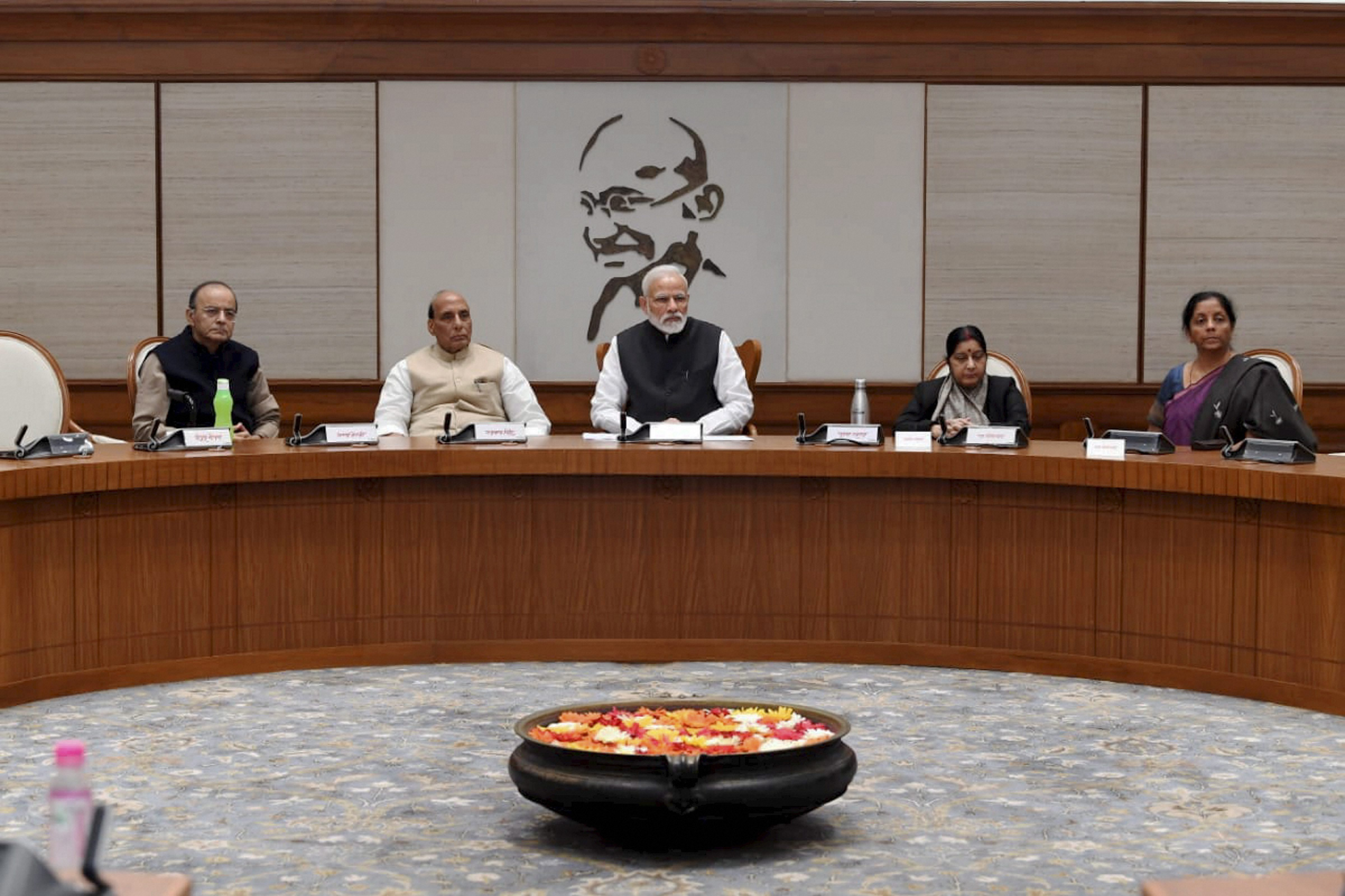 (From left) Finance minister Arun Jaitley, home minister Rajnath Singh, Prime Minister Narendra Modi, external affairs minister Sushma Swaraj and defence minister Nirmala Sitharaman during a Cabinet Committee on Security meeting to discuss the Pulwama terror attack.