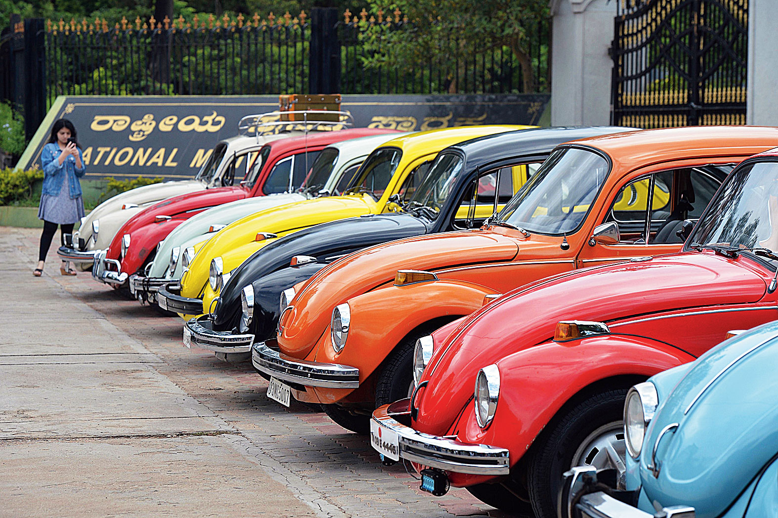 In this file photo taken on June 24, 2018 vintage Volkswagen Beetle cars are parked in a row during a rally held as part of the 23rd anniversary of