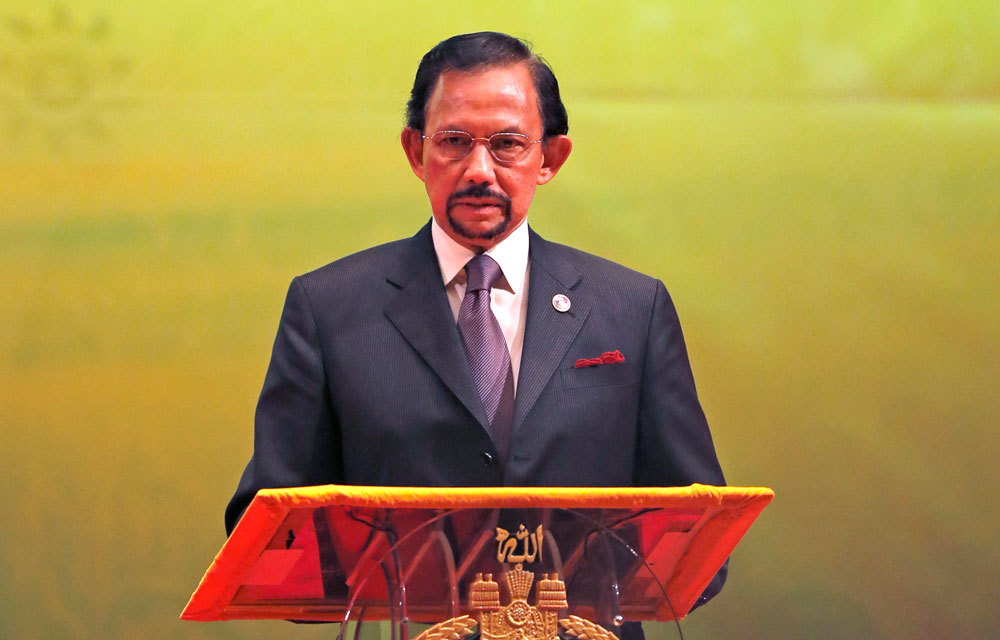 Brunei's Sultan Hassanal Bolkiah. The sultan announced to implement Islamic criminal laws that punish gay sex by stoning offenders to death