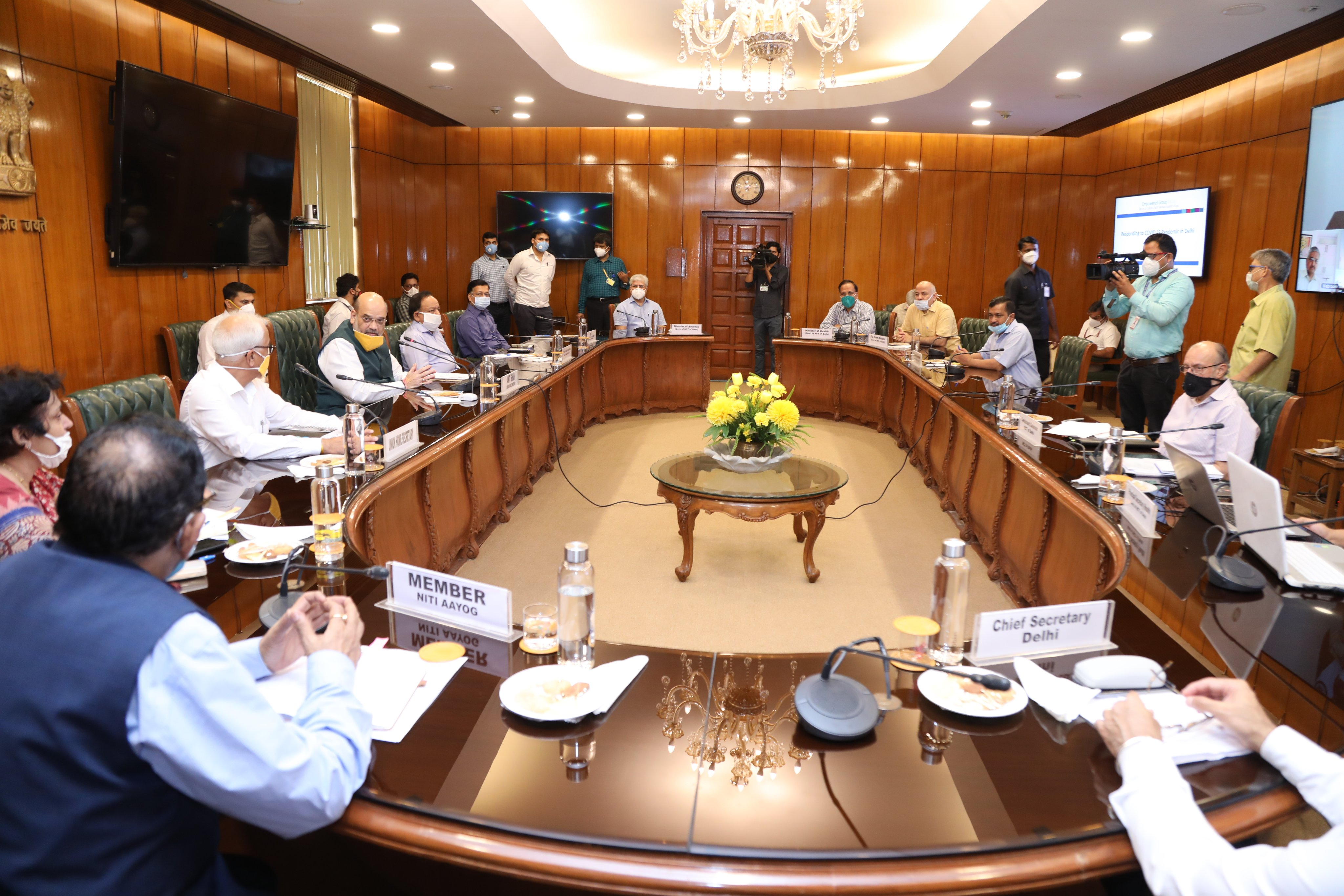 Home minister Amit Shah chairs a meeting with Delhi chief minister Arvind Kejriwal, LG Anil Baijal and senior officials of health and home ministries, among others, to review the current situation in the national capital regarding Covid-19, in New Delhi on Sunday, June 14, 2020.