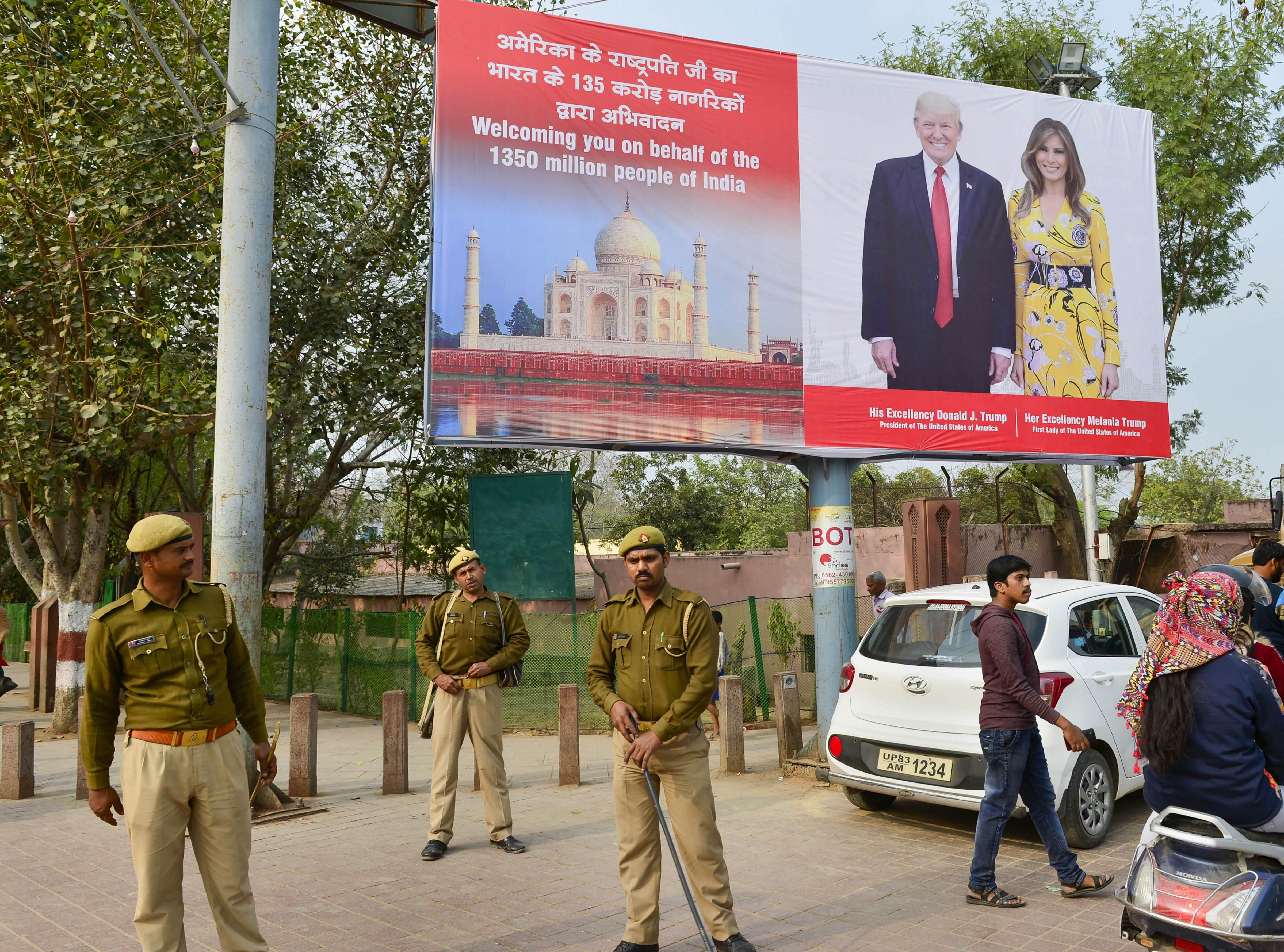 Central Industrial Security Force personnel patrol a street leading to Taj Mahal ahead of US President Donald Trump's maiden visit to India, in Agra, Saturday, February 22, 2020
