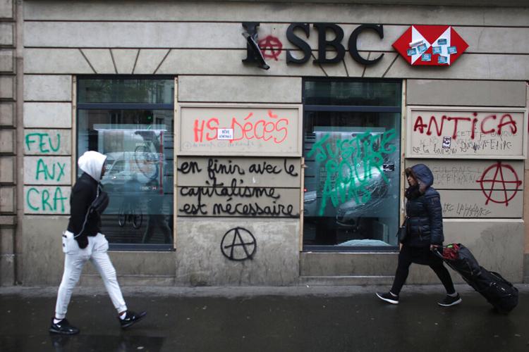 A vandalised bank outlet in Paris on December 6