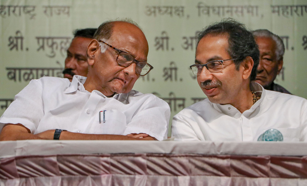 NCP president Sharad Pawar with Maharashtra chief minister Uddhav Thackeray at an event in Nagpur on December 18
