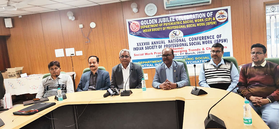 CIP director D Ram (centre) ahead of the 38th annual national conference of Indian Society of Professional Social Work at CIP, Ranchi, on Thursday.