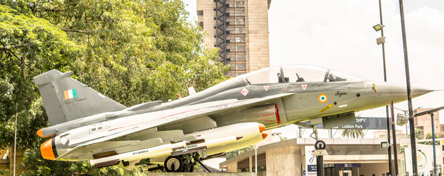 A HAL Tejas multirole light fighter designed by Aeronautical Development Agency (ADA) and Hindustan Aeronautics Limited (HAL) for Indian Air