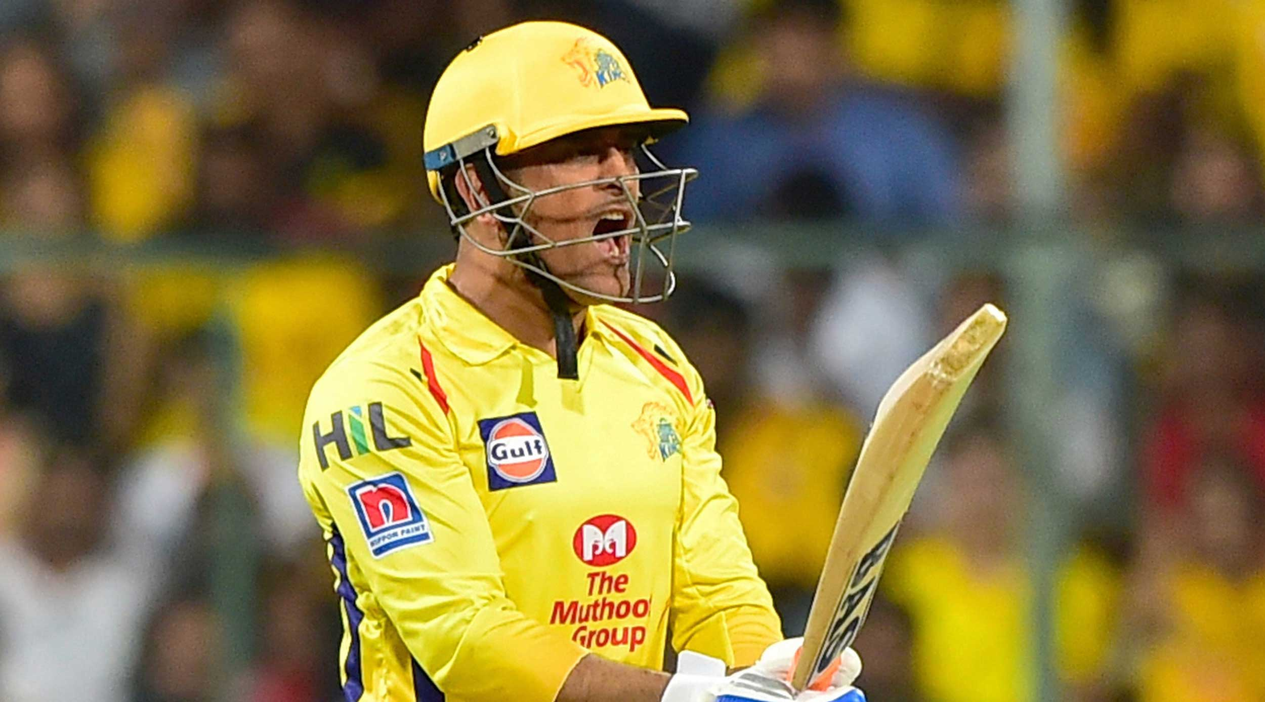 Dhoni reacts during the IPL T20 cricket match between RCB and CSK at Chinnaswamy Stadium in Bangalore, on April 21, 2019.